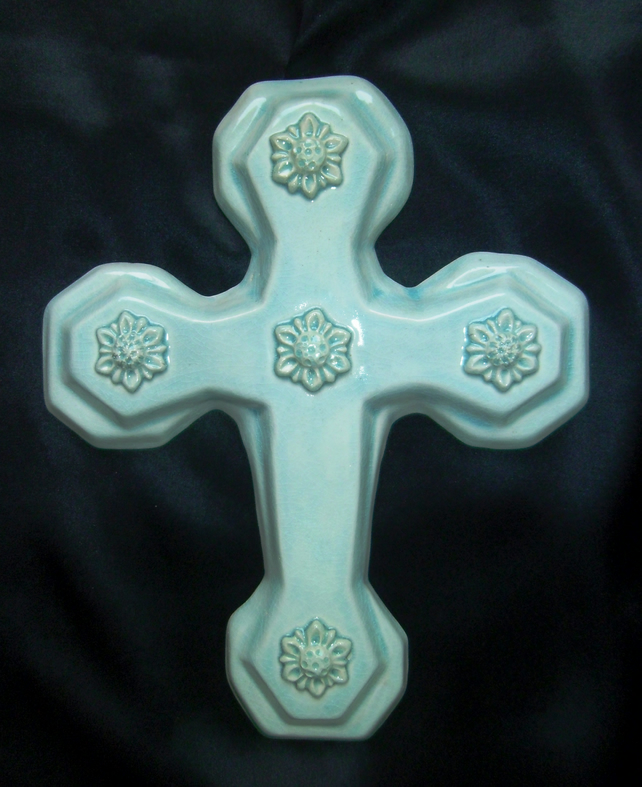 Turquoise glazed ceramic wall cross no. 4