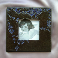 Black & purple glazed ceramic photo frame no. 4