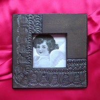 Metallic black handmade glazed ceramic photo frame no. 5