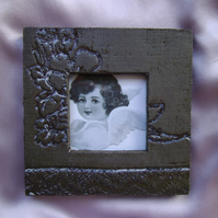 Black & pale blue glazed ceramic photo frame no. 6