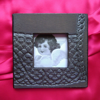 Metallic black handmade glazed ceramic photo frame no. 7