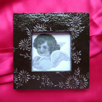 Black & pink high-gloss glazed ceramic photo frame no. 8