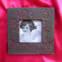 Grey & red ceramic photo frame no. 9