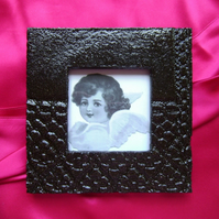 Black high-gloss glazed ceramic photo frame no. 13