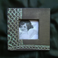 Grey & turquoise patterned ceramic photo frame no. 15