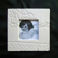 Matte cream handmade ceramic photo frame no. 2