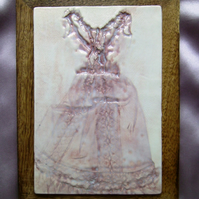Pink glazed ceramic doll's dress print no. 1
