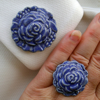 Royal blue glazed ceramic brooch with matching ring