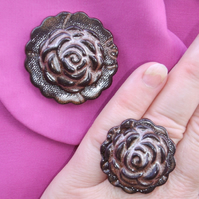 Sparkly brown glazed ceramic brooch with matching ring