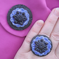 Blue and black glazed ceramic brooch with matching ring