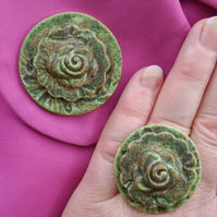 Mossy green glazed ceramic brooch with matching ring