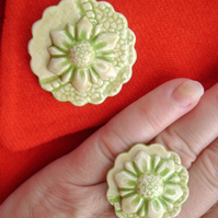 Green glazed ceramic brooch and matching ring set No. 9