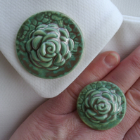 Metallic green glazed ceramic brooch with matching ring
