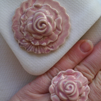 Pink glazed ceramic brooch with matching ring