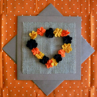 Handmade felt flowers heart card