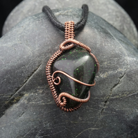 Wire Weave Wrapped Green Goldstone Pendant