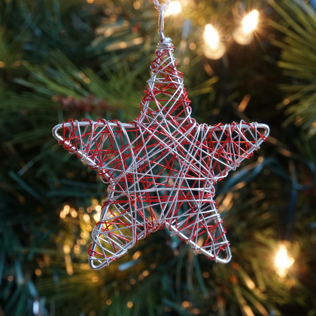 Set of Five Mini Scribble Star Decorations - Silver & Red
