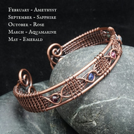 Copper Wire Weave Birthstone Cuff - Customisable with Crystal Beads