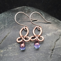 Hammered Copper Wire Earrings with Purple Drops
