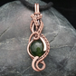 Copper Wire Weave Wrapped Green Agate Pendant