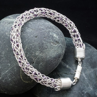 Beaded Viking Knit Bracelet - Silver with Purple Beads