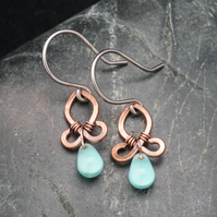 Hammered Copper Wire Earrings with Blue Drops
