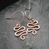 Hammered Copper Squiggle Earrings