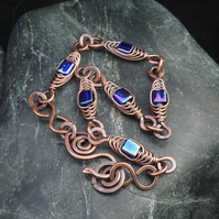 Herringbone Wire Weave Chain Bracelet with Cobalt Blue Cube Beads