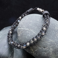 Black Viking Knit Bracelet with Grey & Iridescent Beads