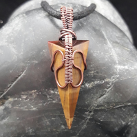 Copper Wire Weave Wrapped Tiger's Eye Pendant