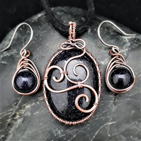 Copper Wire Weave Wrapped Blue Goldstone Pendant & Matching Earrings