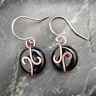Hammered Copper Swirl Earrings with Black Beads