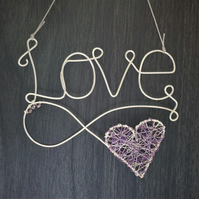 Wire word - Love with lilac wire wrapped heart