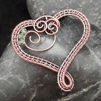 Copper Wire Weave Heart Pendant with Peridot Swarovski Crystal Beads