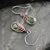 Copper Wire Wrapped Earrings with Faceted Peridot Glass Beads