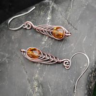 Copper Wire Wrapped Drop Earrings with Faceted Yellow Topaz Glass Beads