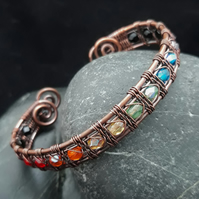 Rainbow Snake Wire Weave Copper Cuff with Faceted Glass Beads