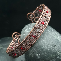 Diamond Wire Weave Copper Cuff with Red Beads