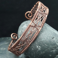 Double Cross Woven Copper Cuff Bracelet