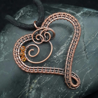 Copper Wire Weave Heart Pendant with Topaz Swarovski Crystal Beads