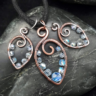 Hammered Copper Beaded Leaf Pendant & Matching Earrings with Pale Blue AB Beads