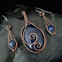Copper Wire Weave Wrapped Sodalite Pendant & Matching Earrings