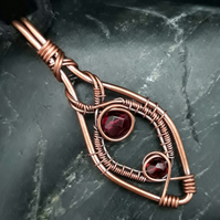 Copper Wire Weave Pointed Drop Pendant with Red Beads