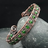 Snake Wire Weave Copper Cuff with Emerald Green Faceted Glass Beads