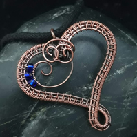 Copper Wire Weave Heart Pendant with Blue beads