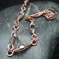 Herringbone Wire Weave Chain Bracelet with Metallic Grey Cube Beads