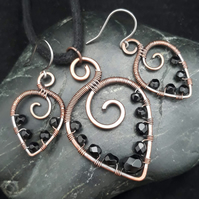 Hammered Copper Beaded Leaf Pendant & Matching Earrings with Black Beads