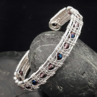 Wire Woven Silver Plated Cuff with Purple & Metallic Blue Beads