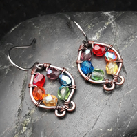 Hammered Copper Earrings with Rainbow Beads