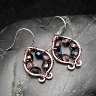 Hammered Copper Earrings with Purple & Metallic Blue Beads
